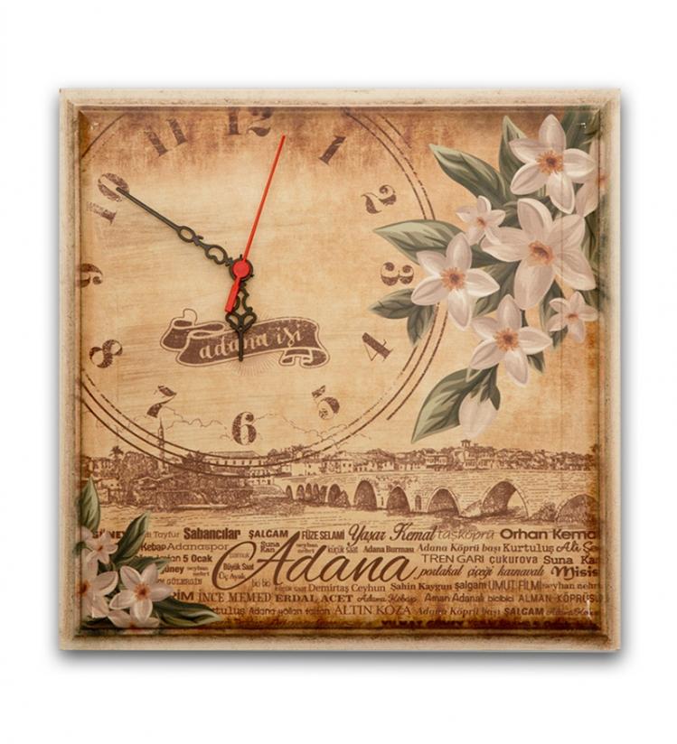 Adana Temalı Ahşap Saat (32x32cm)