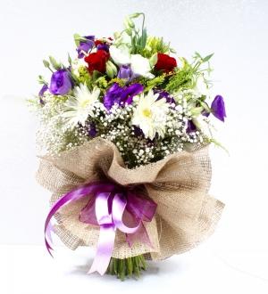 Karışık Rengarenk Çiçeklerden Bahar Buketi