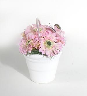 Taş Seramikte Yapay Bahar Çiçekleri (Pembe)