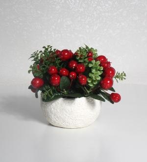 Beyaz Seramikte İğde Bitkisi (Kırmızı)